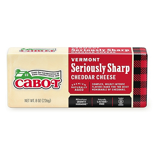 Cabot's Seriously Sharp cheddar is no joke! Get ready for the complex and intense flavor that sets this cheddar apart from the crowd.