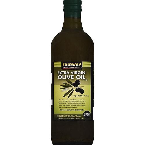 FAIRWAY EXTRA VIRGIN OLIVE OIL. 1 LITER. 33.8 FLUID OUNCES.