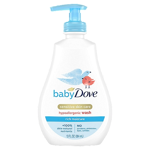 Baby Dove Rich Moisture Tip to Toe Wash's pH neutral formula goes beyond mild cleansing with a rich, creamy lather that replenishes essential nutrients to help skin retain its natural moisture. It leaves skin clean, soft and delicately scented.    Our caring formula is    • Hypoallergenic    • Tear free    • Ophthalmologist, dermatologist & pediatrician tested    We created our formula with no dyes, no parabens, no phthalates