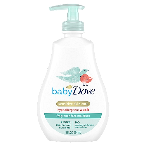 Baby Dove Sensitive Moisture Fragrance Free Tip to Toe Wash's pH neutral formula goes beyond mild cleansing with a rich, creamy lather that replenishes essential nutrients to help skin retain its natural moisture. It leaves skin clean and soft.