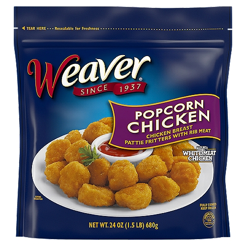 Weaver Popcorn Chicken is a sure favorite for the family! Popcorn Chicken is great for entertaining friends and best served with a salad or dipping sauce.