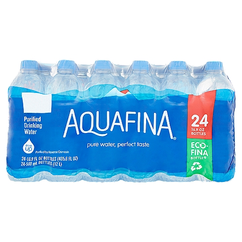 16.9 fl oz each. What's the secret for perfectly pure tasting water? Our 7-step purification system. It takes out the stuff other bottled waters leave in. Make Your Body Happy by drinking Aquafina water.