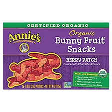 Annie's Homegrown Organic Gluten Free Bunny Berry Patch Fruit Snacks, 0.8 Ounce