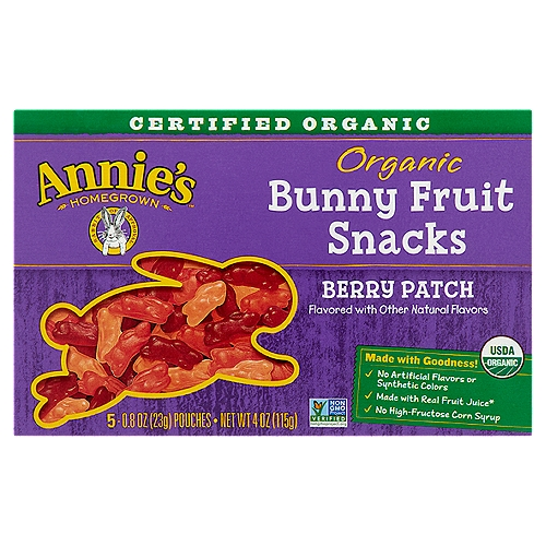 Organic, Gluten Free Bunny Berry Patch Fruit Snacks, 5 Pouches