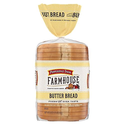 Soft texture, thick sliced bread with a delicious buttery taste. 14 slices of bread per loaf. No high fructose corn syrup & no colors or flavors from artificial sources. Contains: wheat, milk, soy.