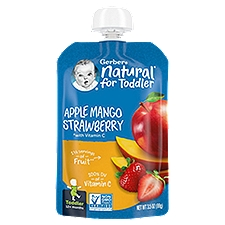 Gerber Toddler Foods Pouch - Apple Mango Strawberry, 3.5 Ounce