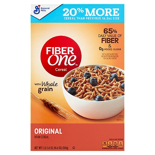 With whole grain. 65% daily value of fiber & 0g added sugar.