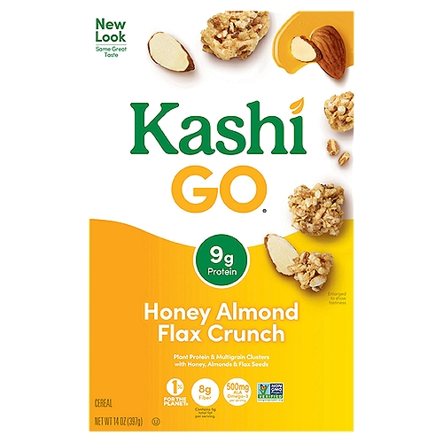 Blend of sweet, crunchy multigrain clusters, sliced almonds and whole flax seeds. 9 g protein. 8 g fiber. 500 mg ALA Omega-3 fatty acids. 5 g fat per serving. 13g whole grains. Non-GMO.
