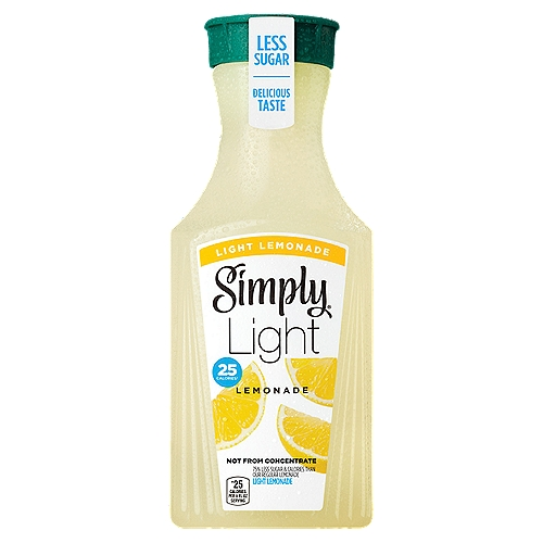 75% less sugar and fewer calories than our regular juice drinks. Made with real, simple ingredients so every sip of Simply Light Lemonade is surprisingly refreshing.