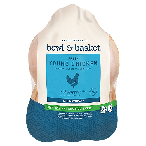Package weighs on average 4.4 - 4.75lbs. You will be charged accordingly. Bowl & Basket Fresh Young Chicken