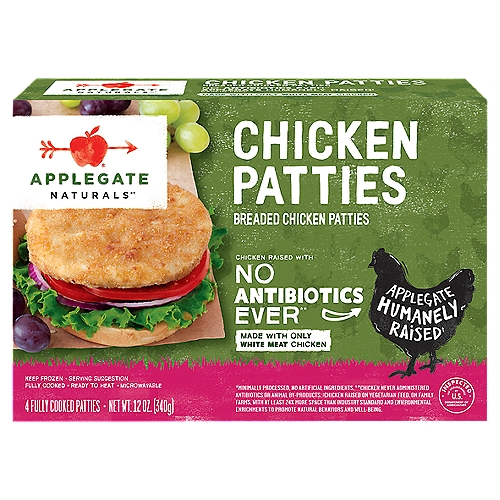 A tender chicken patty with a golden crispy crust – it wants to be in your sandwich, now.   • Applegate, Natural Chicken Patty, 12oz (Frozen)  • No Antibiotics or Added Hormones  • No Chemical Nitrites or Nitrates  • Humanely Raised  • No Artificial or GMO Ingredients  • Humanely Raised  • Dairy Free  • Casein Free
