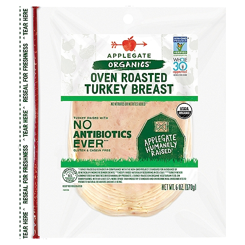 Plays well with others. Add to your favorite salad, sandwich or wrap.  • Applegate, Organic Oven Roasted Turkey Breast, 6oz  • No Antibiotics or Added Hormones  • No Chemical Nitrites or Nitrates  • Non-GMO Project Verified  • Humanely Raised  • Whole30 Approved  • Gluten Free  • USDA Organic   • Sugar Free  • No Carrageenan   • Dairy Free  • Casein Free