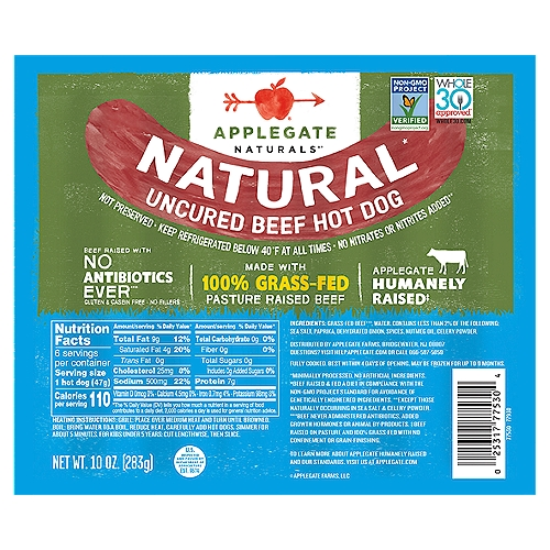 100 percent grass-fed beef equals 1,000 percent delicious. We did the math.                                                                                                                     • Applegate, Natural Uncured Beef Hot Dog, 10oz   • No Antibiotics or Added Hormones  • No Chemical Nitrites or Nitrates  • No Artificial or GMO Ingredients  • Humanely Raised  • Whole30 Approved  • 100% Grass-Fed and Pasture-Raised  • Gluten Free  • Sugar Free  • Dairy Free