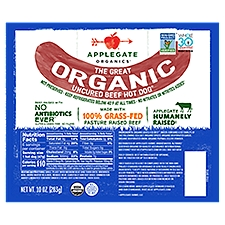 Applegate Great Organic Uncured Beef Hot Dog, 10 Ounce