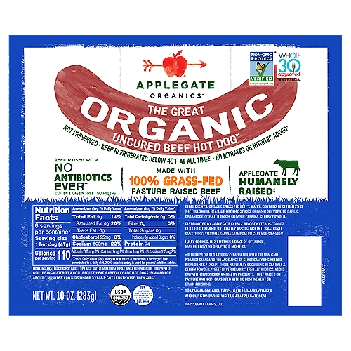 100 percent grass-fed beef equals 1,000 percent delicious. We did the math.                                                • Applegate The Great Organic Uncured Beef Hot Dog 10oz   • No Antibiotics or Added Hormones  • No Chemical Nitrites or Nitrates  • Non-GMO Project Verified  • Humanely Raised  • Whole30 Approved  • 100% Grass-Fed and Pasture-Raised   • Gluten Free  • USDA Organic   • Sugar Free  • Dairy Free