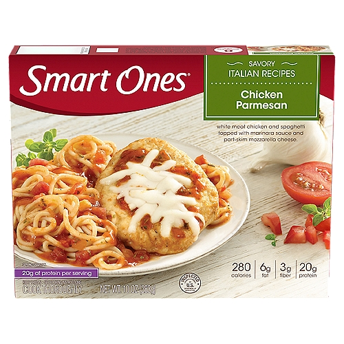 Seasoned chicken breast and spaghetti with marinara sauce topped with cheese. 290 calories. 6 g fat. 4 g fiber. 23 g protein. 7 points.