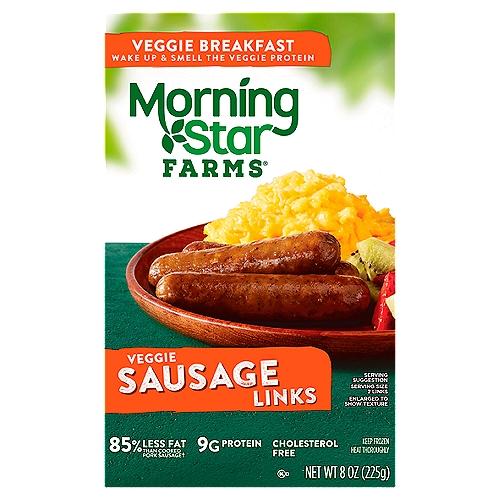 82% less fat than cooked pork sausage links. 80 calories. 3 g fat. 10 count package. CONTAINS SOY, WHEAT, EGG AND MILK INGREDIENTS.