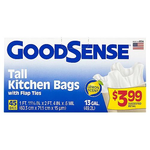 Bags & ties: 1 ft. 11 3/4 in. x 2 ft. 5 3/8 in. x .6 mil.