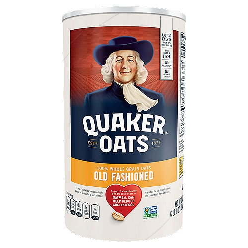 Start your morning with the energy you want with a bowlful of healthy and tasty Quaker Old Fashioned Oats. The sodium-free whole grain oats can be topped with any of your favorite flavors.