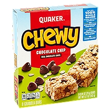 Quaker Chewy Granola Bars - Chocolate Chip, 6.7 Ounce