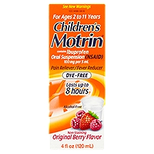 MOTRIN CHILDRENS Oral Suspension Dye-Free Berry, 4 Fluid ounce