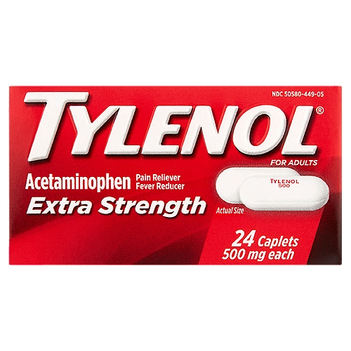Temporarily reduces fever and relieves minor aches and pains. Tylenol Extra Strength provides relief from headache, backache, and menstrual cramps.