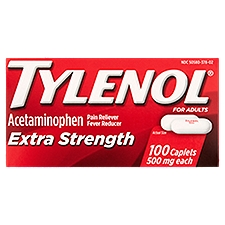 TYLENOL Extra Strength Caplets, 100 Each