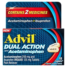 Advil Dual Action Pain Reliever with Acetaminophen, 18 Each