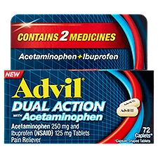 Advil Dual Action Pain Reliever with Acetaminophen, 72 Each