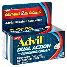 Advil Dual Action Pain Reliever Tablets with Acetaminophen, 144 Each