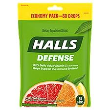 Halls Defense Vitamin C Supplement Drops - Assorted Citrus, 80 Each