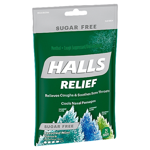 Sugar Free.  Starts working within 10 seconds. Fast relief. Fights coughs, soothes sore throats, cools nasal passages.