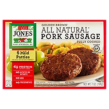 Jones Dairy Farm All Natural Fully Cooked Mild Pork Sausage Patties, 6 Each