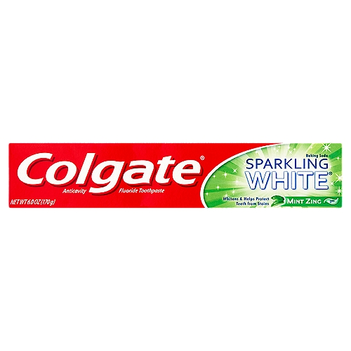 Colgate Sparkling White Whitening Toothpaste, with a great Mint Zing flavor, is formulated with spearmint and peppermint essential oils that will dazzle your mouth.
