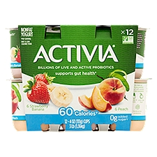Activia Light Yogurt Strawberry Banana and Peach, 48 Ounce