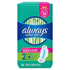 Always Size 2 Ultra Thin Unscented Super Pads With Wings, 32 Each