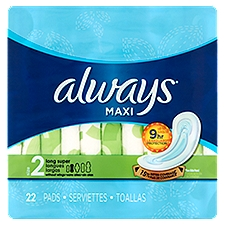 Always Size 2 Unscented Maxi Super Pads, 22 Each
