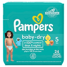 Pampers Baby Dry Diapers Size 5, 24 Each