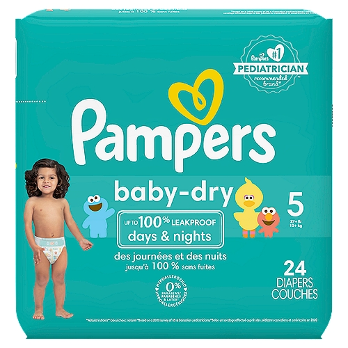 Pampers Baby Dry diapers provide up to 12 hours of overnight protection and are 3x drier* (*Based on Size 3 vs. a leading value brand. Average of 0.19 grams less after 3 typical wettings over 15 min.)