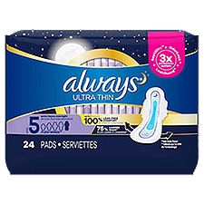 Always Ultra Thin Extra Heavy Overnight Pads Size 5, 24 Each