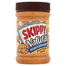 Skippy Extra Crunchy Natural Super Chunk Peanut Butter, 15 Ounce