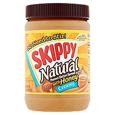Skippy Natural Creamy Peanut Butter Spread with Honey, 26.5 Ounce