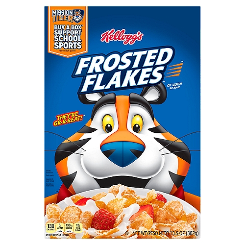 Crispy frosted corn flakes.