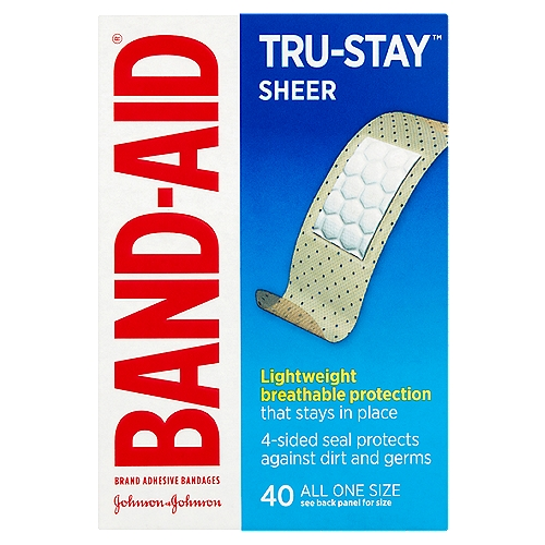 Band-Aid Brand Adhesive Bandages Sheer Strips are flexible so they stay in place on minor cuts and scrapes.