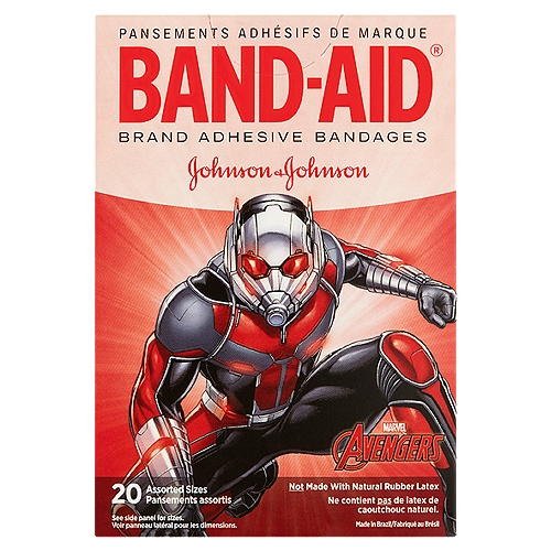 Band-Aid Brand Adhesive Bandages featuring Marvel Avengers cover and protect minor cuts and scrapes while putting a smile on your child's face.