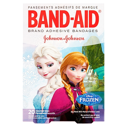 Band-Aid Brand Adhesive Bandages featuring Disney Frozen cover and protect minor cuts and scrapes while putting a smile on your child's face.
