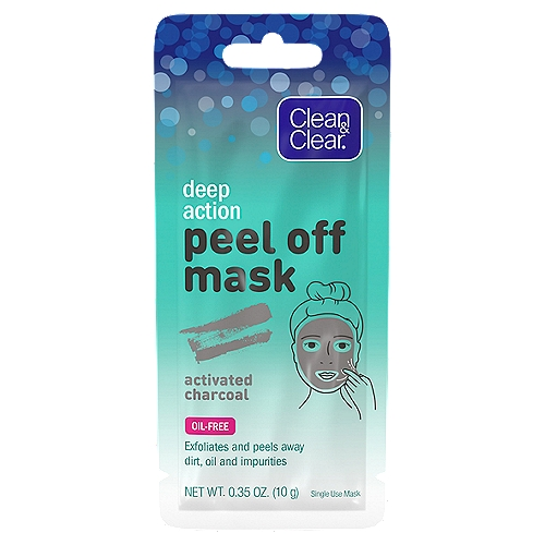 Peel away pore-clogging dirt, oil, and impurities in one step with Clean & Clear Deep Action Peel Off Mask with Activated Charcoal. This exfoliating facial mask clings to dirt and oil as it transforms from a liquid to a semi-solid, and then easily peels off to reveal cleansed skin. This single-use face mask that contains activated charcoal is oil-free and non-comedogenic, which means it won't clog pores. To use, simply apply an even layer of the mask to clean skin, avoiding eyebrows and hairline. Leave on for approximately 20 minutes and then gently peel off from the edges, wiping away any excess with a towel or damp cotton ball no need to rinse. For best results, use this cleansing facial mask twice per week or as often as needed.     1-ct. of single-use Clean & Clear Deep Action Peel Off Mask with Activated Charcoal    This face mask exfoliates and cleanses in one step for clearer-looking skin    Its unique formula is designed to cling to dirt and facial oil to gently peel them away    The cleansing face mask transforms from a liquid to a semi-solid, and then easily peels off skin    Draws out pore-clogging impurities for cleansing    Designed for single-use, it is oil-free and non-comedogenic so it won't clog pores    Easy to use apply evenly, wait 20 minutes, and then gently peel off with no rinsing required    Use the exfoliating face mask twice per week, or as often as needed, for cleansed skin