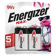 Energizer MAX Batteries, 9 Volt Alkaline, 2 Each