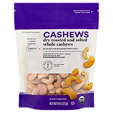 Wholesome Pantry Organic Dry Roasted and Salted Cashews, 8 Ounce