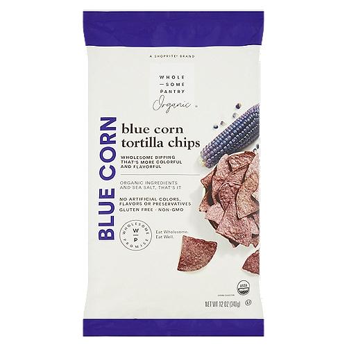 Wholesome Pantry Organic Blue Corn Tortilla Chips, 12 oz